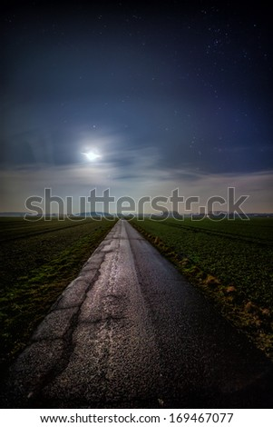 The picture shows a way by moonlight. - stock photo