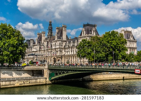 The picturesque embankments of the Seine River in Paris, France. - stock photo