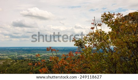 The picturesque view on the valley from  Les Baux-de-Provence village, France. - stock photo