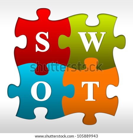 The 4 Pieces SWOT Puzzle With Red, Green, Blue and Orange Isolated On White Background - stock photo