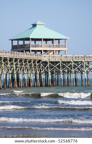 The pier at Folly Beach in Charleston, South Carolina. - stock photo