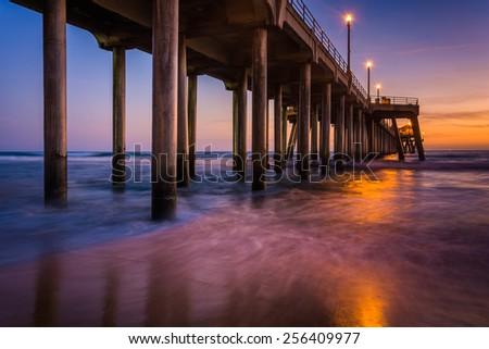 The pier at twilight, in Huntington Beach, California. - stock photo