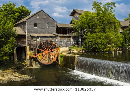 The Pigeon Forge Mill, commonly called the Old Mill, is a historic gristmill in the U.S. city of Pigeon Forge, Tennessee - stock photo