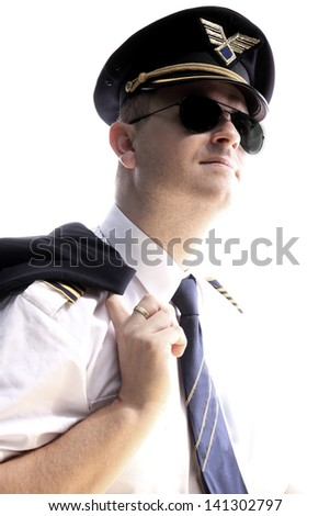 The pilot of the aircraft on a white background - stock photo
