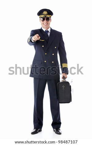 The pilot on a white background - stock photo