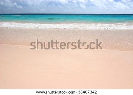 The pink sand of Horseshoe Bay Beach, Bermuda - stock photo