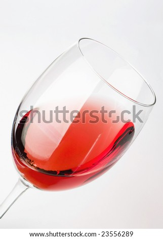 The pink wine in the glass - stock photo