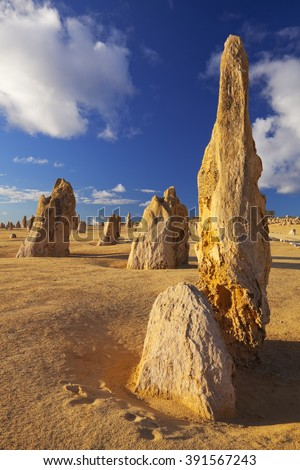The Pinnacles Desert in the Nambung National Park, Western Australia. - stock photo