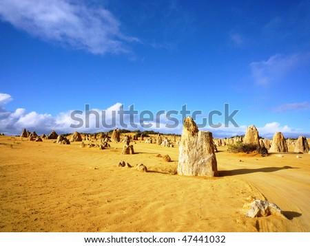 The Pinnacles Desert, Nambung National Park, Western Australia - stock photo