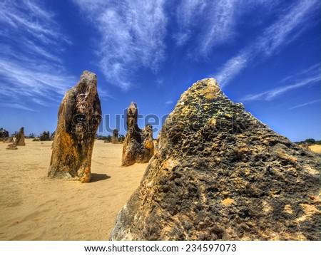 The Pinnacles Desert of Nambung National Park, Western Australia - stock photo