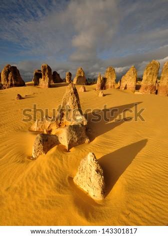 The Pinnacles Desert under Sunset light, Western Australia - stock photo