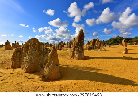The Pinnacles Dessert famous for its limestone rock formations, in Nambung National Park - stock photo