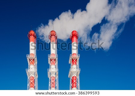The pipes from which steam comes - stock photo