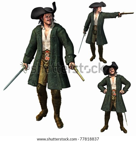 The Pirate Captain, 3D render - stock photo