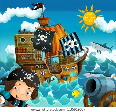 The pirates and the ships - bright sky - illustration for the children 1 - stock photo