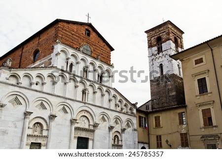The Pisan-Romanesque Church of Santa Maria Forisportam, Lucca, Tuscany, Italy - stock photo