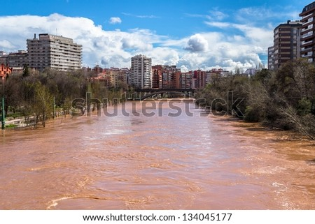 The Pisuerga river overflow in Valladolid, Spain. - stock photo