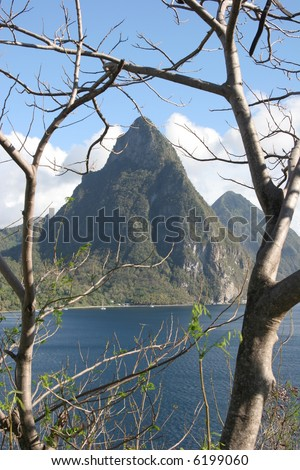 the Pitons, St Lucia - stock photo