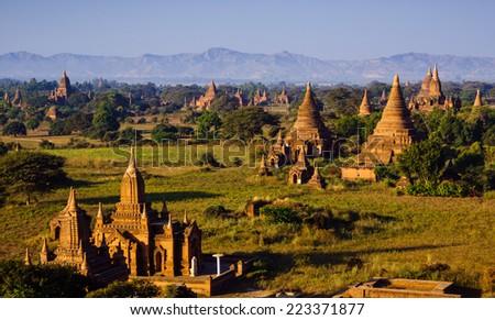 The plain of Bagan(Pagan), Mandalay, Myanmar - stock photo