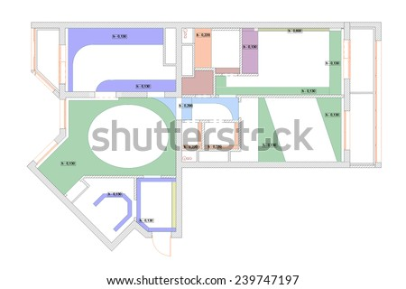 The plan of a ceiling of the apartment with indication of heights - stock photo