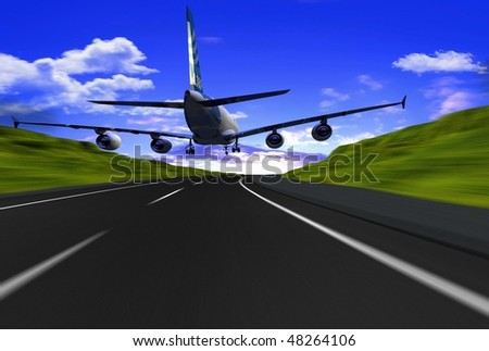 The plane on the runway - stock photo