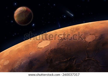The planet and its satellite - stock photo