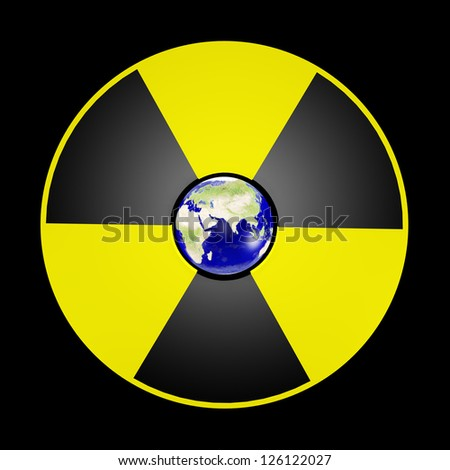The planet Earth and sign of danger nuclear.Elements of this image furnished by NASA - stock photo