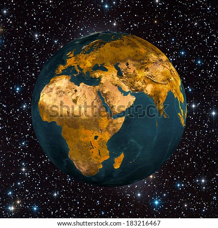 The planet earth in space full of stars (Elements of this image furnished by NASA)  - stock photo