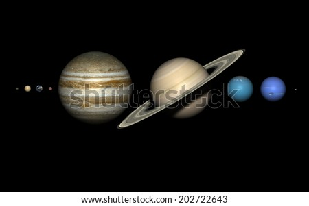 The planets of the solar system on black,  rendered using the best available NASA imagery. The relative sizes are correct. Elements of this image furnished by NASA.  - stock photo