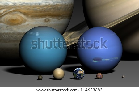 The planets of the solar system, rendered using the best available NASA imagery. The relative sizes are correct. Elements of this image furnished by NASA. 16:10 format. - stock photo