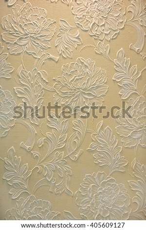 The plaster in the form of floral pattern , background, texture - stock photo