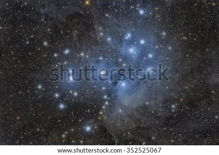The Pleiades or Seven Sisters Star Cluster - stock photo