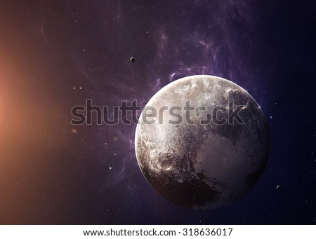 The Pluto with moons shot from space showing all they beauty. Extremely detailed image, including elements furnished by NASA. Other orientations and planets available. - stock photo