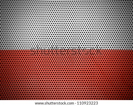 The Polish flag painted on metall grill - stock photo