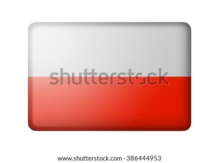 The Polish flag. Rectangular matte icon. Isolated on white background. - stock photo