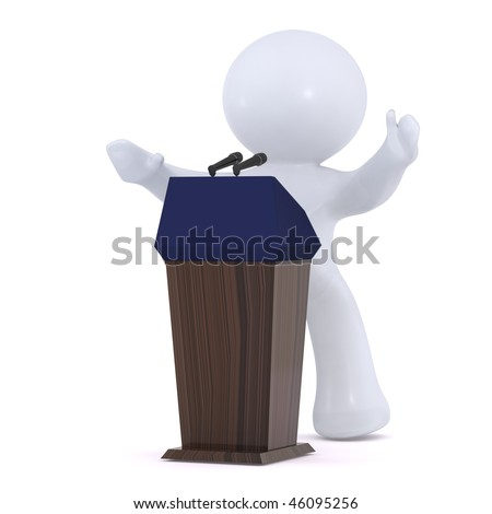 The  politician  at the Podium - stock photo