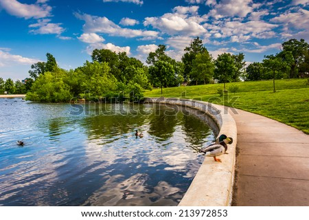 The pond at Patterson Park in Baltimore, Maryland. - stock photo