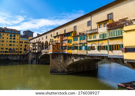 The Ponte Vecchio in Florence in a summer day in Italy - stock photo