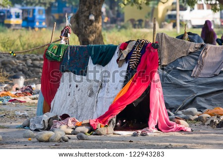 The poor area near the Ganges river in Haridwar, India - stock photo