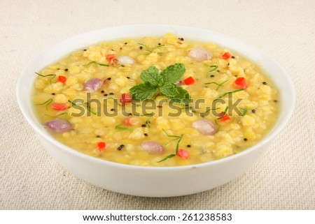 The popular Indian dish tarka dal .With Selective focus. - stock photo