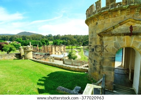 The Port Arthur Historic site is the World Heritage listed destination located on the Tasman Peninsular of Australia. Built in the early 19th century, it was home to convicts and military personnel. - stock photo