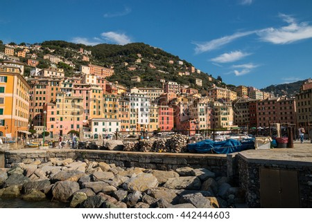 The port of Camogli , Genoa , Liguria , Italy - stock photo