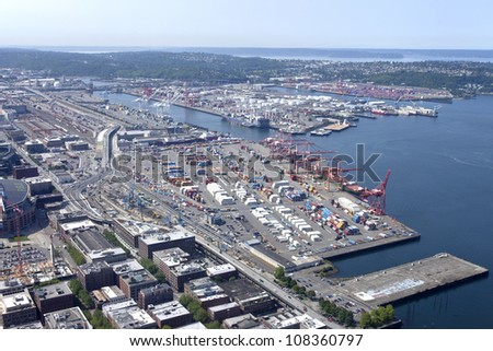 The port of Seattle Washington and surrounding areas. - stock photo