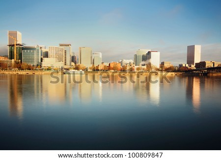 The Portland Downtown in Early morning Sunlight - stock photo
