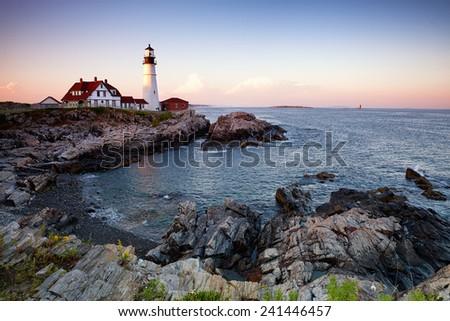 The Portland Head Lighthouse at dusk. Cale Elizabeth, Maine, USA - stock photo