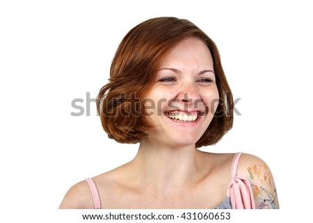 the portrait of beautiful  young adult smiling / laughing girl with freckles and red hair isolated on white background - stock photo