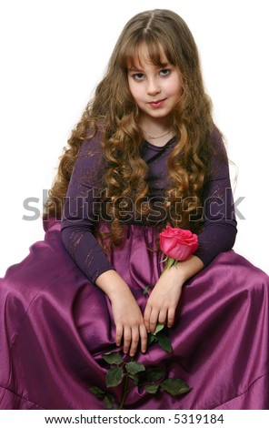 The Portrait of girl-teenager with long hairs on white background. - stock photo