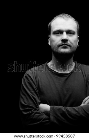 the portrait of man.studio shot - stock photo