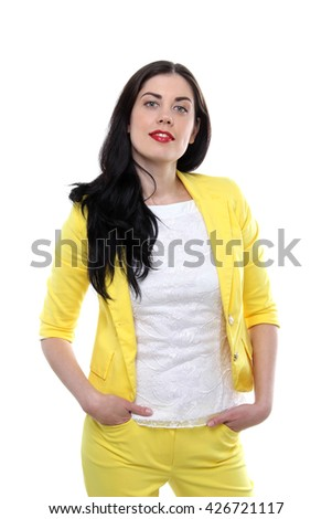 the portrait of young adult beautiful happy brunette caucasian woman wearing on yellow suit and white t-shirt  isolated on white background - stock photo