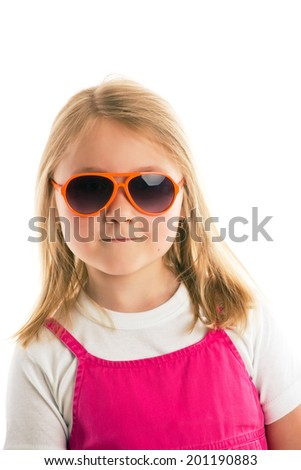 the posing girl with sunglasses - stock photo